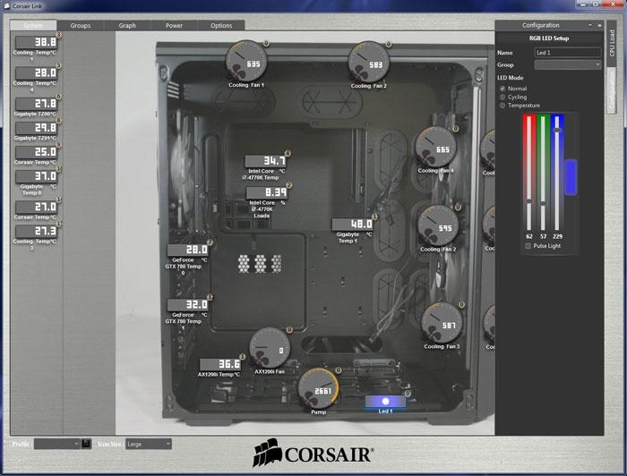Интерфейс Corsair Link прост и понятен