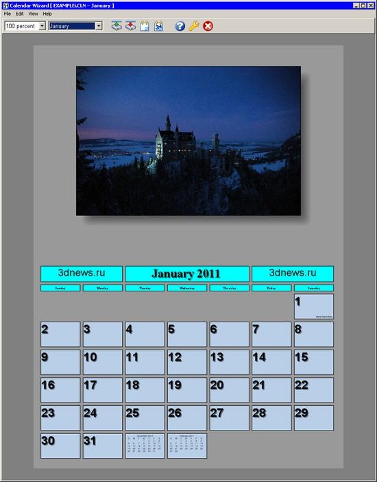Програмку для разработки макетов календарей