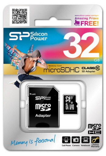 Silicon Power 32GB microSDHC Class 10 Memory Card
