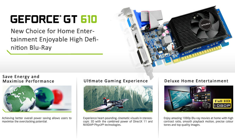SPARKLE GeForce GT 610 1G D3 / GeForce GT 610 2G D3