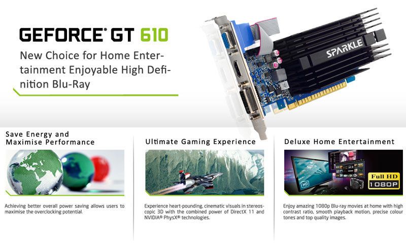 SPARKLE GeForce GT 610 1G D3 P