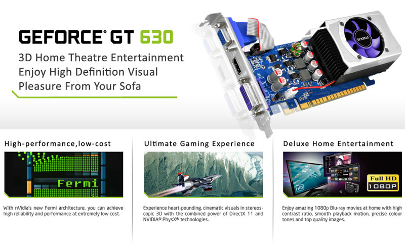 SPARKLE GeForce GT 630 2G D3 / GeForce GT 630 1G D3