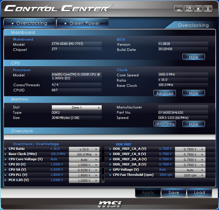 MSI Z77A-GD80 Control Center