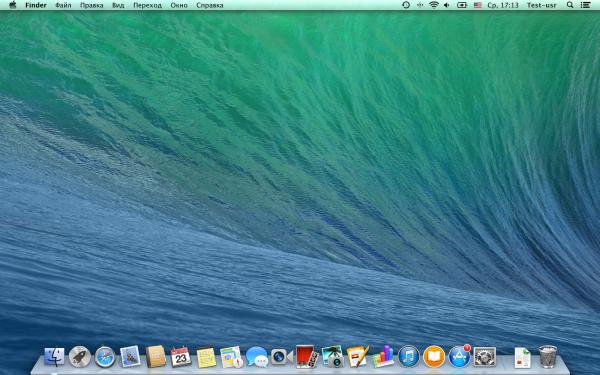 Рабочий стол Apple OS X Mavericks 10.9