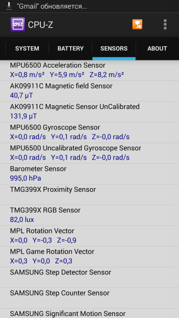 Samsung Galaxy S5 system information: CPU cores