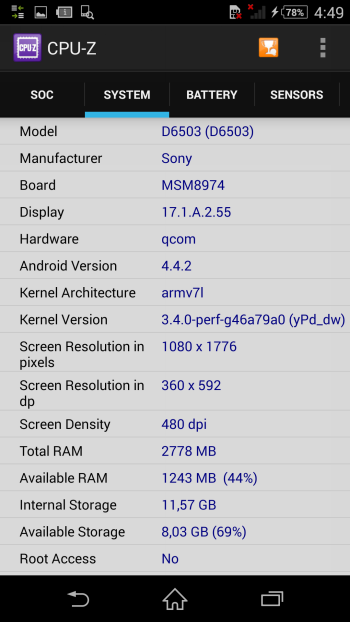 Sony Xperia Z2 system information: memory, OS and display