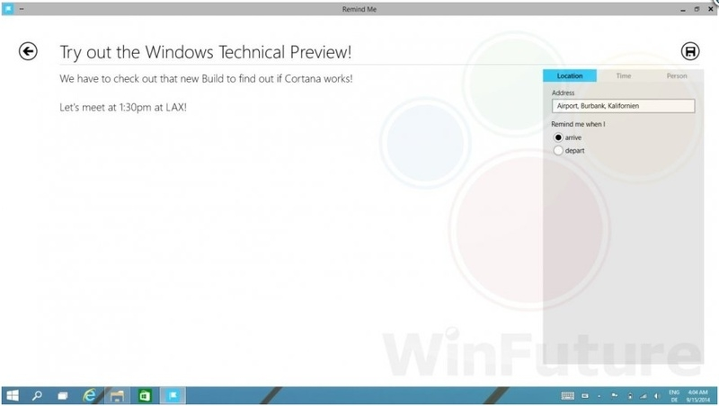 Cortana в Виндоус 9 Technical Preview