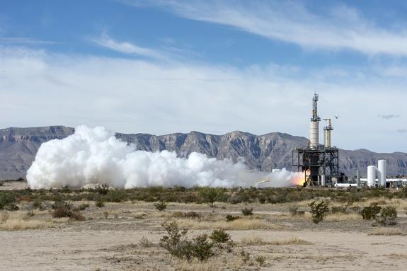 Blue Origin ведет испытание ракетного мотора в Западном Ткхасе