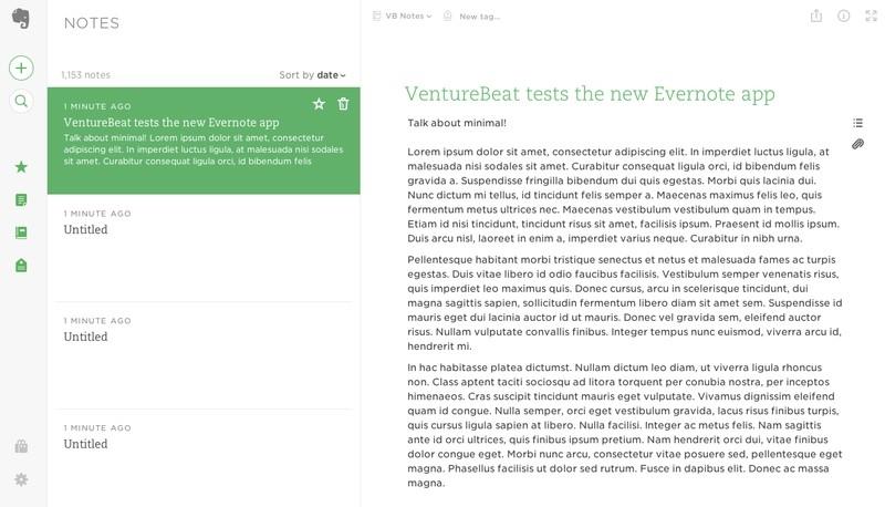 Новый веб-интерфейс Evernote