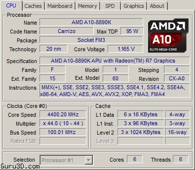 CPU-Z рапортует о 20 нанометрах и странной конфигурации кешей