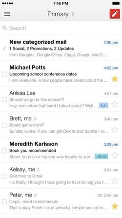 Интерфейс Gmail для iOS 8