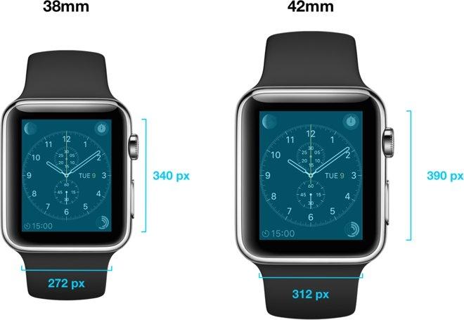 Экран часов Apple Watch с диагональю корпуса 38 мм получит разрешение 272 х  340 точек, а более крупная 42-мм модель оснащена дисплеем с разрешением 312  х ... e48469071b4