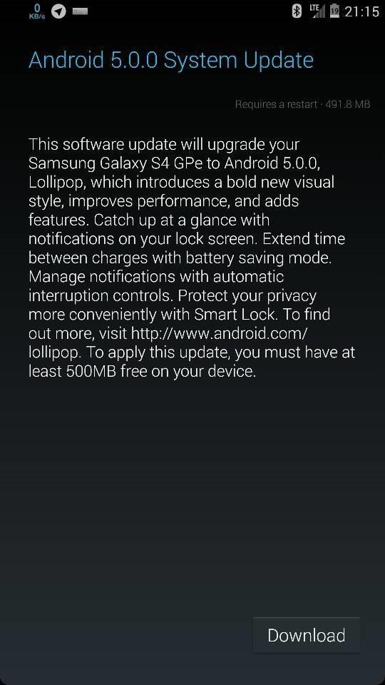 Скачать обновление Андроида до 5.0