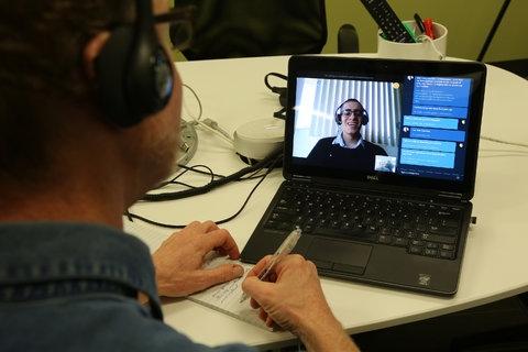 Демонстрация Skype Translator (Jim Wilson/The New York Times)