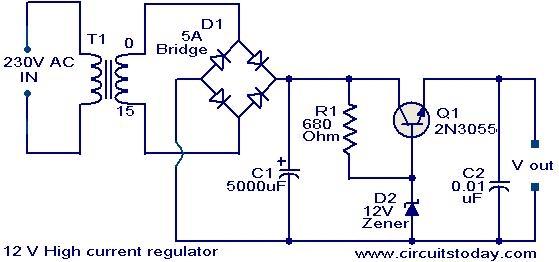 Пример линейного источника питания со стабилизатором. Избыточная мощность рассеивается на транзисторе Q1