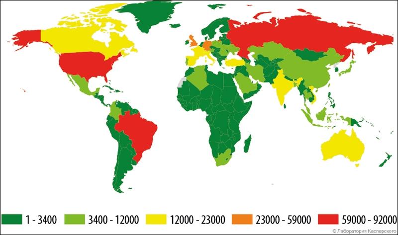 География атак банковского вредного ПО в I квартале 2015 года (число атакованных клиентов)