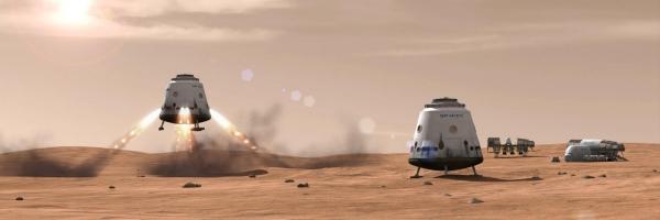 Посадка корабля Dragon на Марс в представлении художника