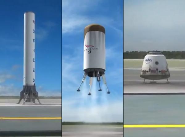 Первоначальная концепция полного спасения носителя типа Falcon с кораблём Dragon