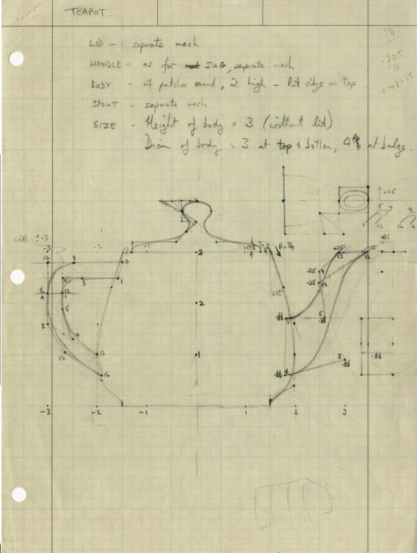 На этом изображении — уникальный скан наброска, который сделал Мартин Ньювелл. Как видите, корпус чайника на этом листике имеет соотношение сторон основы 4х3.
