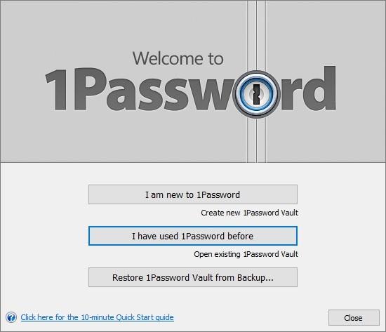 Начальное окно настройки 1Password