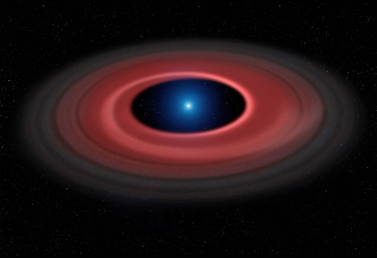 Светящийся диск вокруг белого карлика SDSS1228+1040 в представлении художника