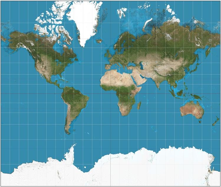 Карта Земли в проекции Меркатора