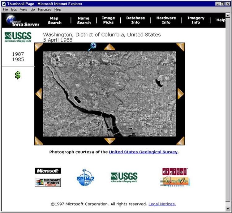 Так сайт Microsoft TerraServer выглядел на момент своего запуска