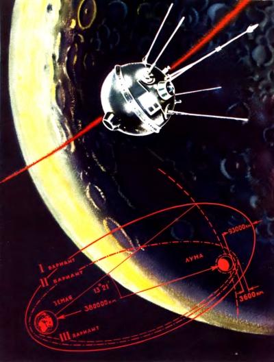 Варианты траектории облёта Луны и выхода на окололунную орбиту