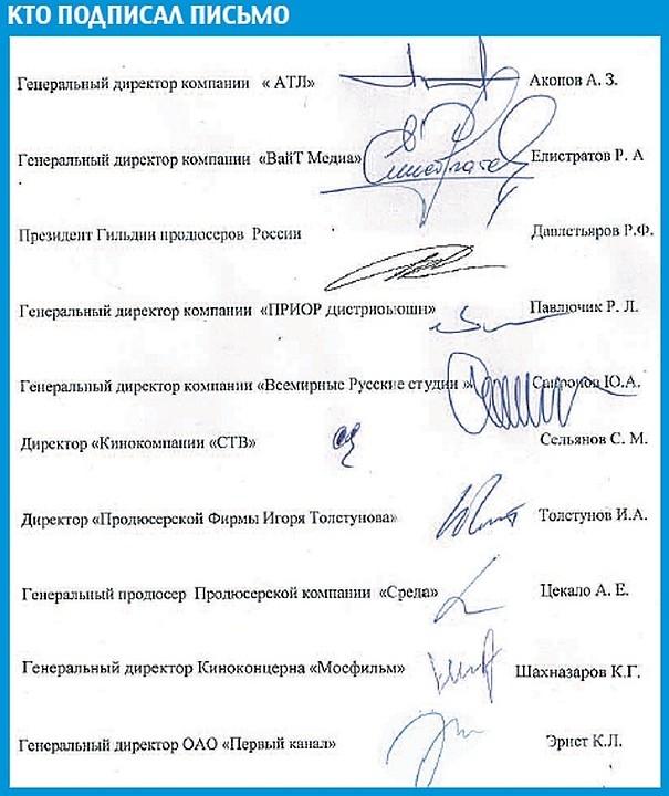 Подписи всех авторов письма