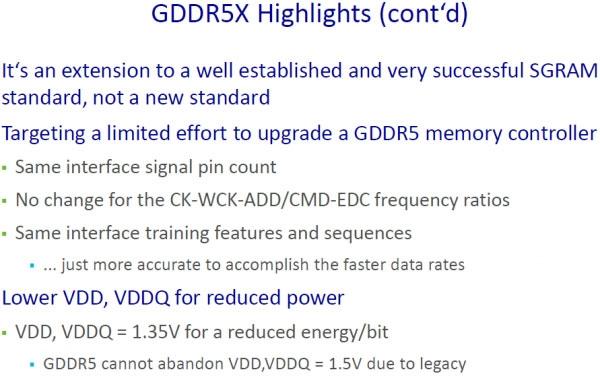 И вновь об отличительных чертах GDDR5X (Micron)