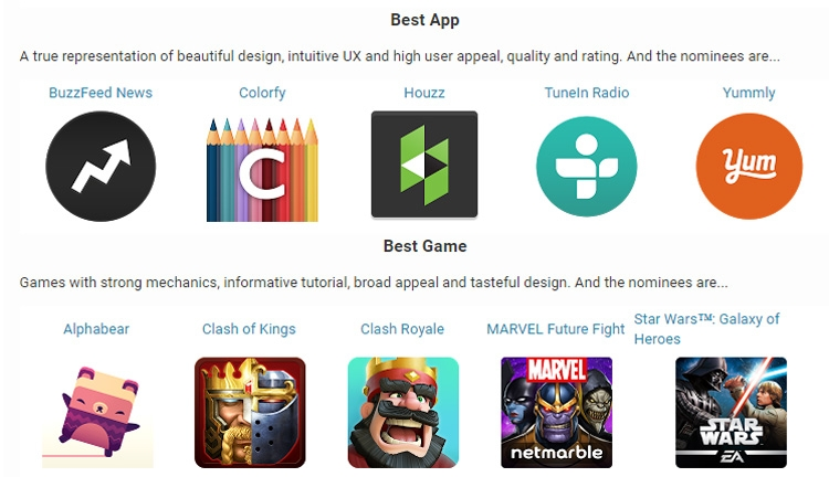 Номинанты Google Play Awards в главных категориях -