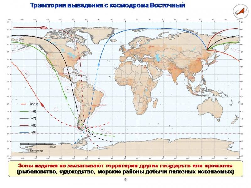 Трассы введения с космодрома Восточный. С плаката Роскосмоса