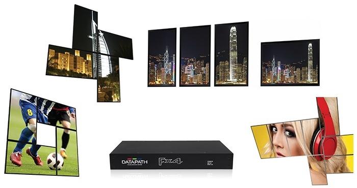 Некоторые из вариантов расположения панелей в видеостене, доступные Datapath FX4