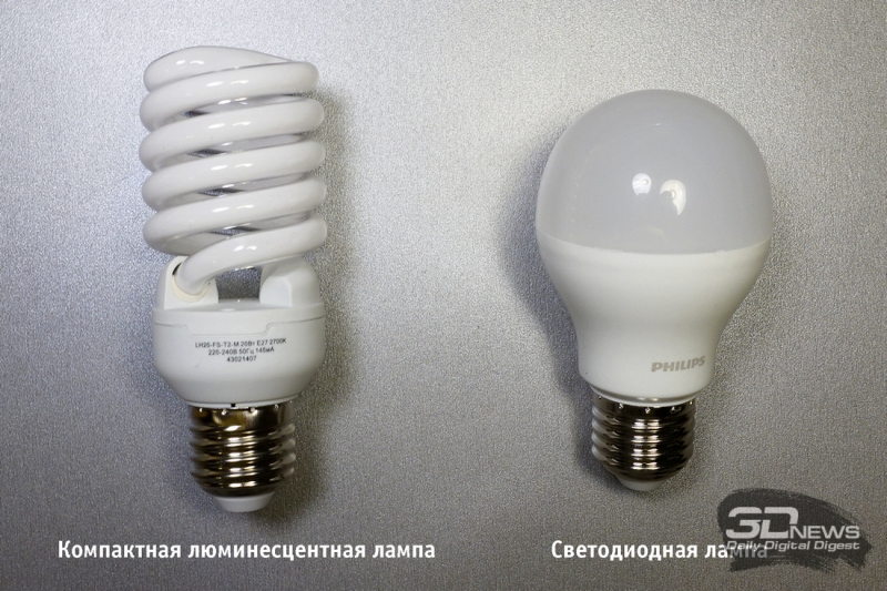 Компактная люминесцентная лампа и светодиодная лампа