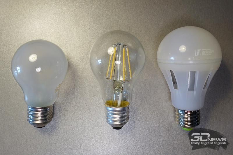 Лампа накаливания, филаментная лампа и лампа Crystal Ceramic MCOB