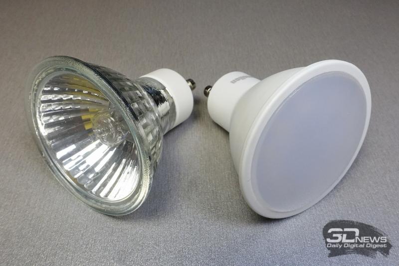 Галогенная лампа и светодиодная лампа с широким углом освещения