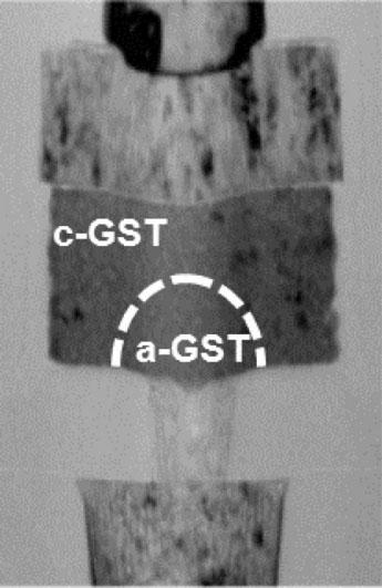 Строение ячейки памяти PCM с зонами из вещества в аморфном и кристаллическом состоянии (IBM)