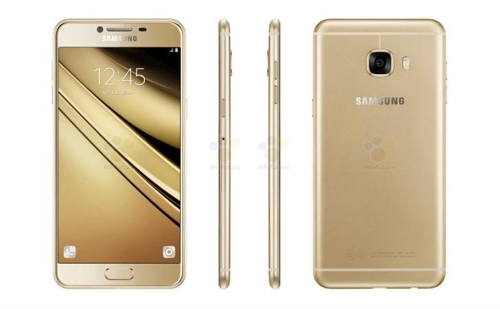 e9d59116c3aa2 На пресс-фото изображён вариант Galaxy C5 в корпусе золотистого цвета,  изготовленном из металла. Смартфон оснащён 5,2-дюймовым сенсорным Super ...