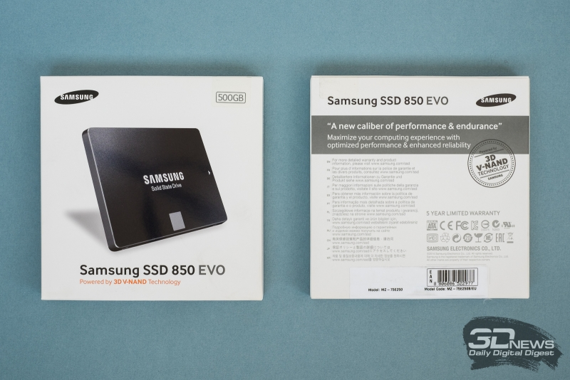 Старая упаковка – Samsung 850 EVO v1 на базе 32-слойной TLC 3D V-NAND