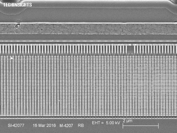 Поперечный разрез TLC 3D V-NAND третьего поколения. Фото TechInsights