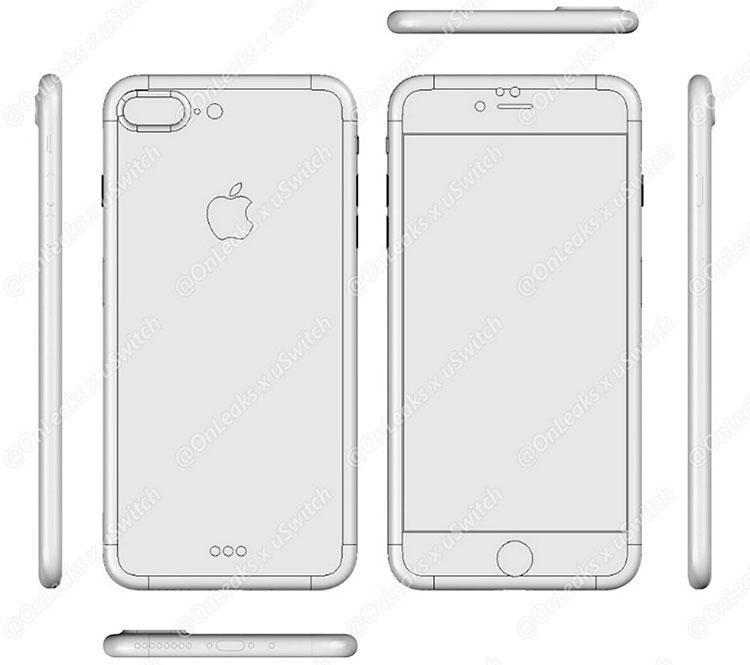 Предположительный чертёж iPhone 7 Plus