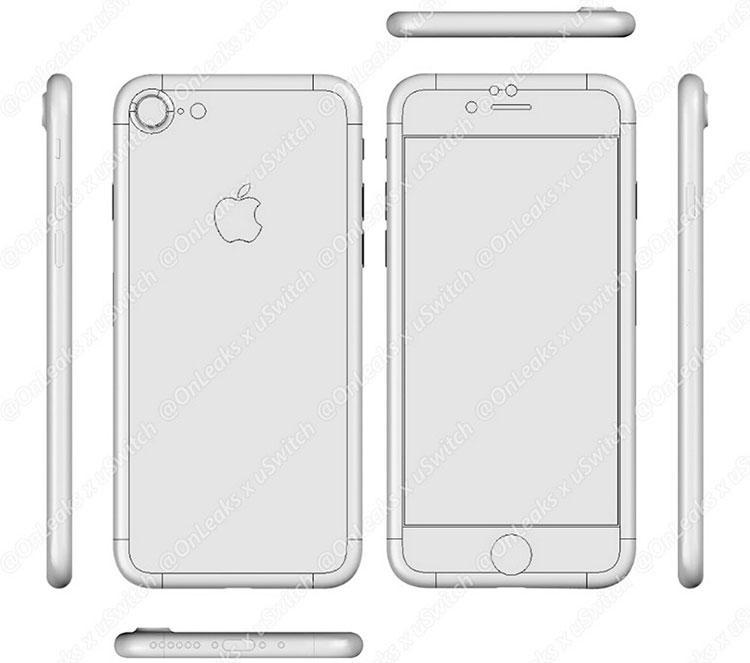 Предположительный чертёж iPhone 7