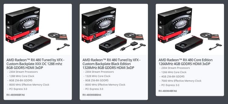 Видеокарты XFX Radeon RX 480