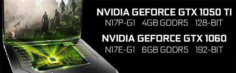 GeForce GTX 1060 и GeForce GTX 1050 Ti для ноутбуков