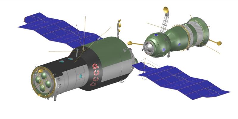 Стыковка корабля «Союз-15» со станцией «Салют-3» («Алмаз») не удалась из-за отказа системы сближения транспортного корабля. Графика А. Шлядинского