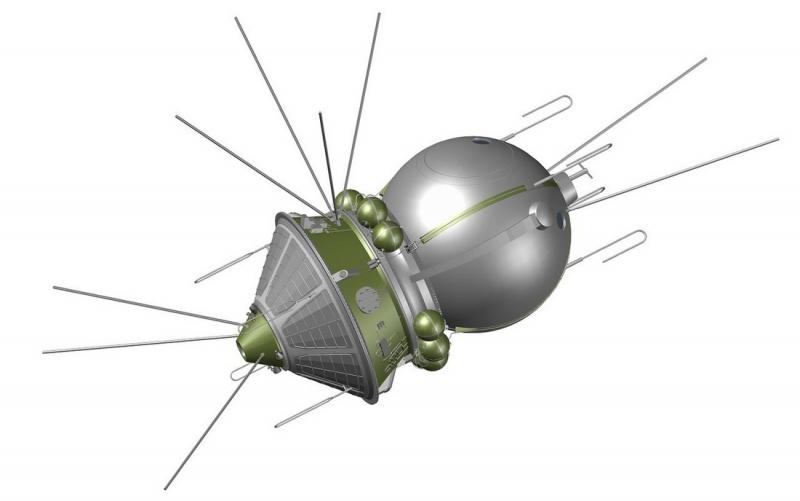 Первый в мире космический корабль «Восток». Графика А. Шлядинского