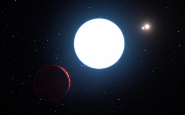 Планета в системе HD 131399 в представлении художник (иллюстрации ESO)