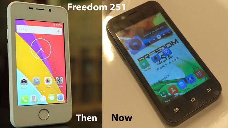 Freedom 251 за $4: прототип начала года (слева) и реальное устройство (справа)