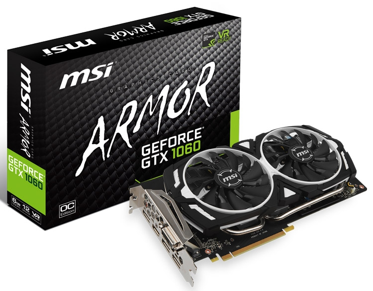 Видеокарта MSI GeForce GTX 1060 Armor 6G OC