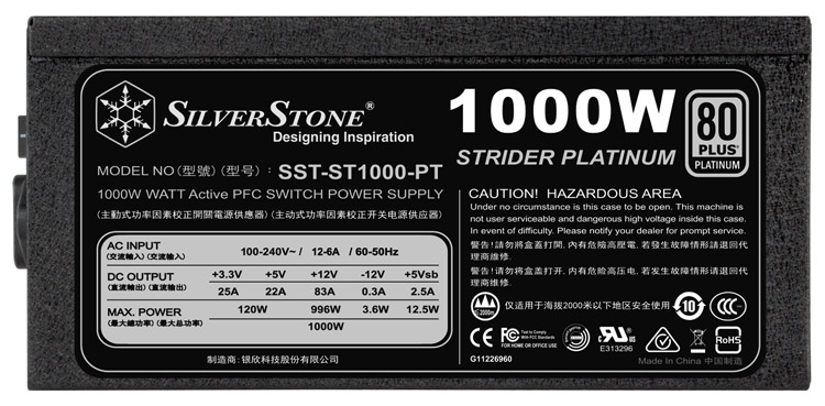 Блок питания SilverStone Strider Platinum 1000/1200 Вт